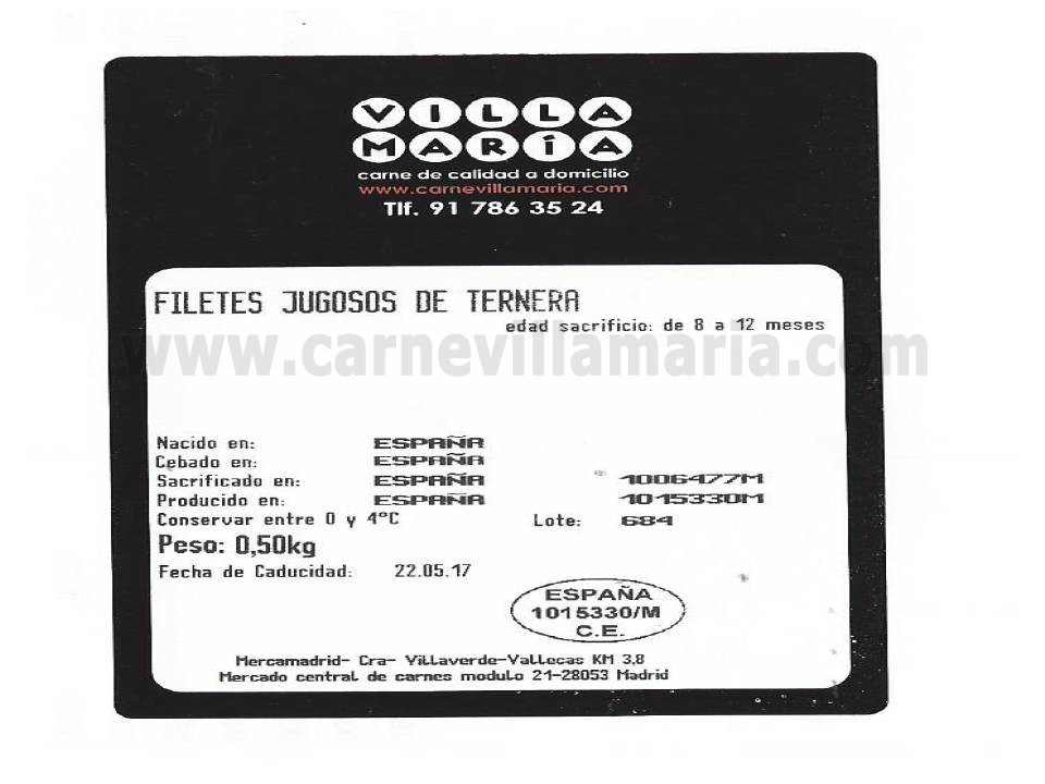 Filetes jugosos de ternera rosada